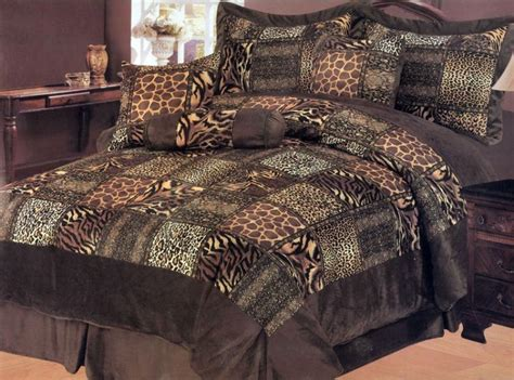 7 pieces leopard animal print microfiber bedding comforter