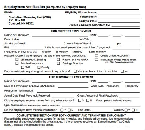 Employment Verification Letter Dshs Employment Verification Form 8 Documents In Pdf
