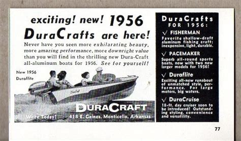aluminum boats made in arkansas 1956 vintage ad duracraft all aluminum boats for 56