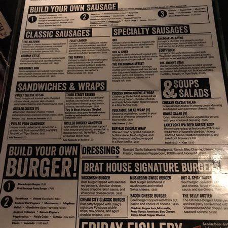 brat house menu milwaukee brat house menu prices restaurant reviews