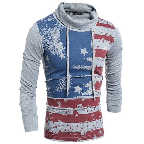 2015 mens piles collar t shirt us flag print