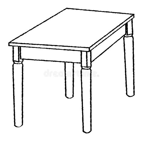 coloring page of a kitchen table line drawing of table simple line vector stock vector