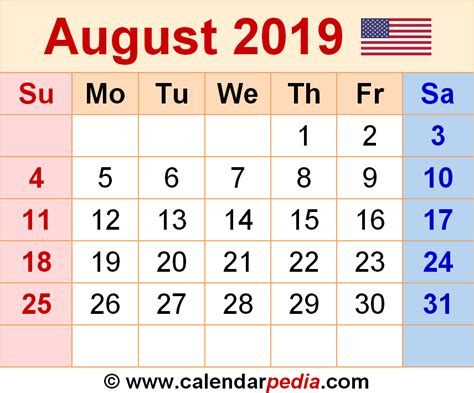Calendar 2019 Word August 2019 Calendars For Word Excel Pdf