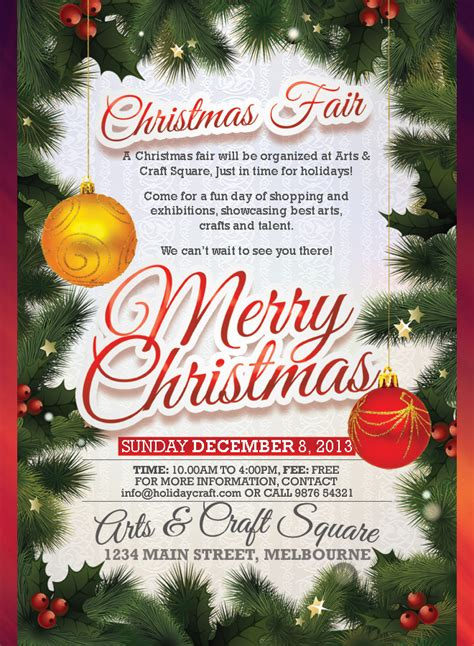 merry christmas design flyer christmas fair flyer