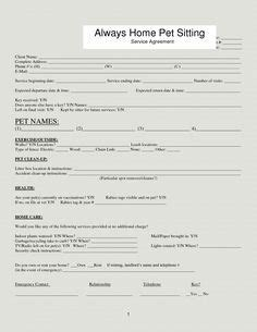 Professional Pet Sitting Forms Template Dog Sitting Form Scout About Pets Inc Mutt Moms Boarding Form Template