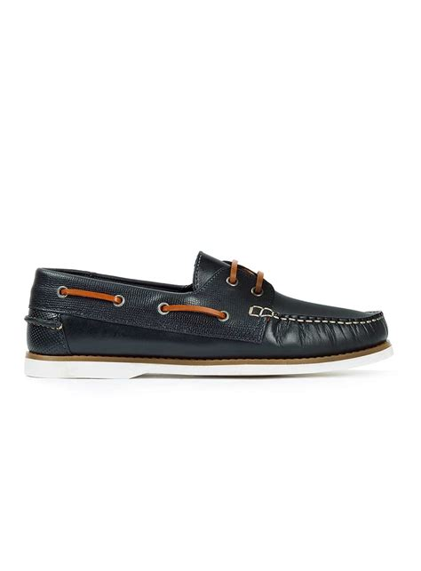 blue boat shoes zara topman navy leather boat shoes in blue for men lyst