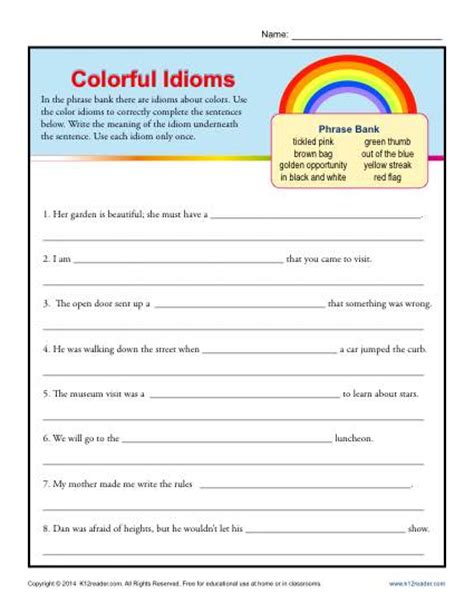 idiom worksheets colorful idioms 4th and 5th grade worksheets
