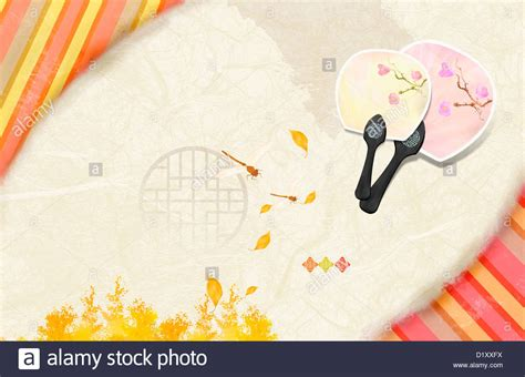 kpop ppt themes ppt template illustration of korean paper fan stock photo
