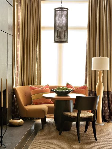 Living Room Corner Table Contemporary Living Room Space With Orange Banquette And Circular Table Designers Portfolio