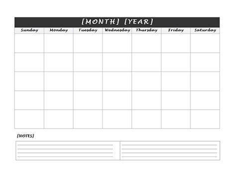 printable calendar room for notes monthly blank calendar with notes spaces free printable