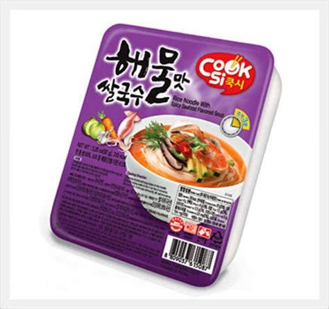 hans korea rice noodle with non spicy seafood flavored