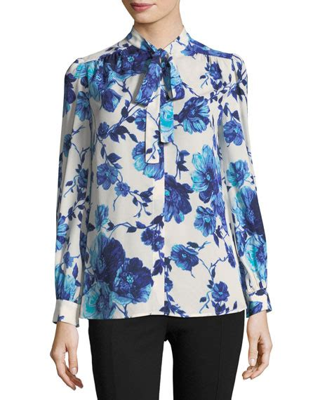 kia blouse burch kia sleeve lili floral silk bow blouse