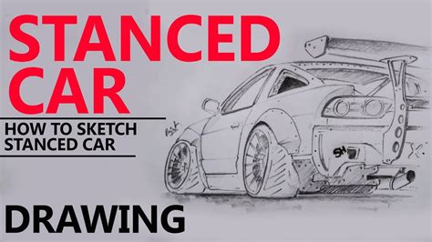 stanced cars drawing stanced car drawing pencil rx7 drifting