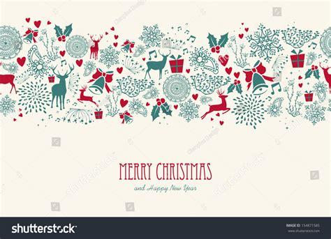 vintage christmas elements reindeer text seamless stock vector  shutterstock