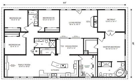4 bedroom ranch house plans 4 bedroom modular home floor