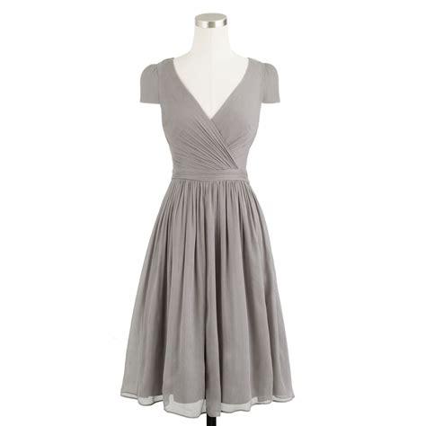 Dress Grey j crew mirabelle dress in silk chiffon in gray graphite