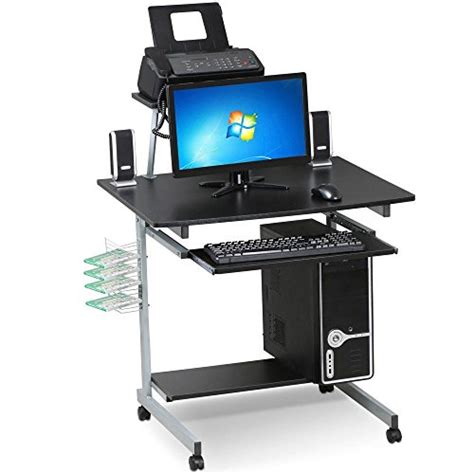 computer desk on wheels with top shelf go2buy small spaces computer desk with keyboard tray