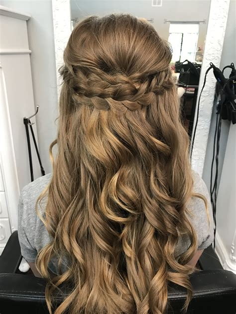 braided half up half prom hair bombshell hair