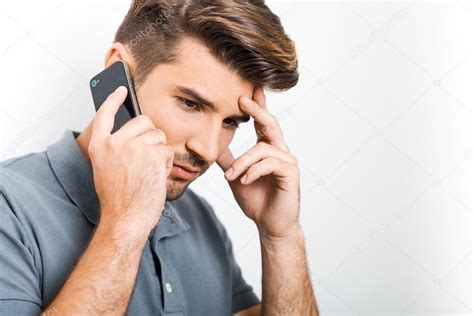 Talking About Depression In Mba Application by Depressed Talking On Mobile Phone Stock Photo