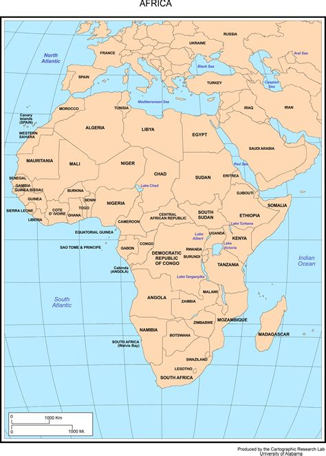 capital cities  africa map