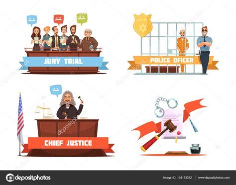 imagenes justicia animadas ley justicia 4 iconos de dibujos animados retro vector