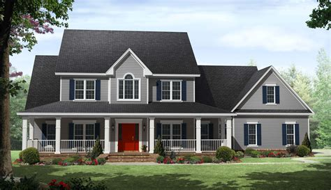 Two Story House Plans With Front Porch by Country Two Story Home With Wrap Around Porches Maverick