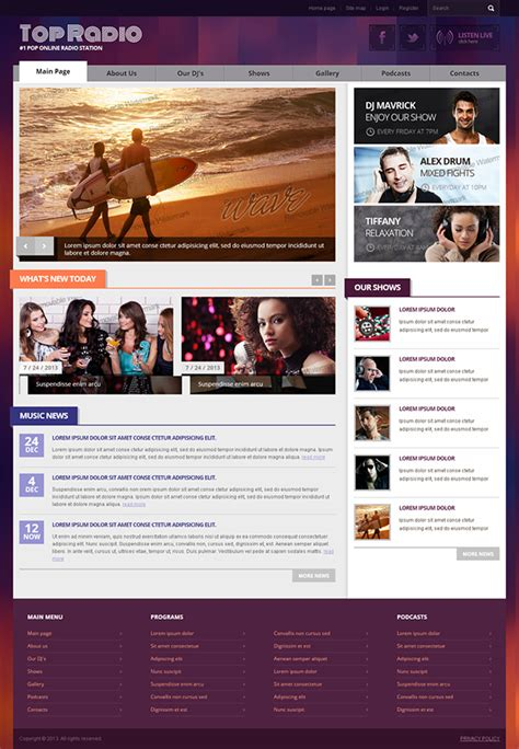 templates for radio website top online radio station bootstrap html template on behance