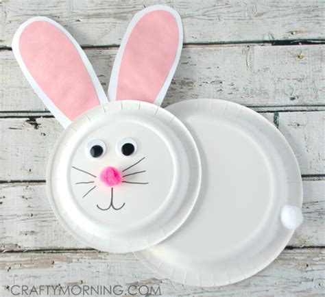 Bunny Paper Plate Craft - 40 easy diy easter bunny crafts for to make