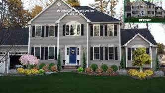colonial home front yard landscape design lakeville ma