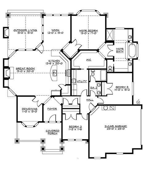 200 sq ft apartment floor plan craftsman style house plan 3 beds 2 baths 2320 sq ft