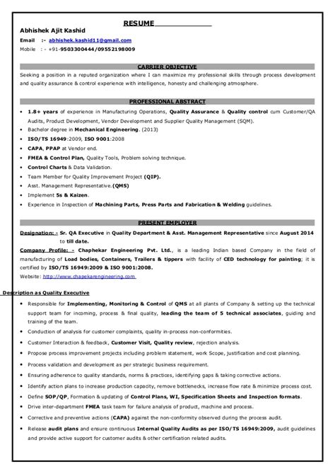 Air Quality Consultant Sle Resume by Qa Executive Resume Sle 28 Images Quality Resume Sainde Org Oilfield Safety Consultant