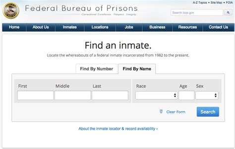 Net Inmate Search Bureau Of Prisons Inmate Locator 28 Images Bop Federal Inmates Federal Inmate
