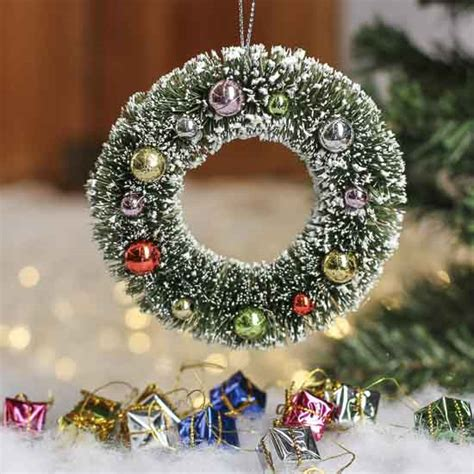 miniature decorated frosted sisal christmas wreath