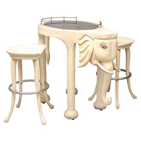 hi top bar tables marge carson elephant high top bar table and stools at 1stdibs