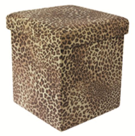 Printed Ottoman Jungle Animal Print Folding Storage Pouffe Foot Rest Stool Ottoman Box Seat