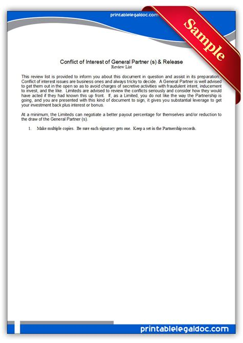 Release Of Interest Letter Free Printable Conflict Of Interest By General Partner Release Form Generic