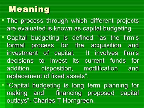 Capital Budgeting Ppt Mba Notes by Capital Budgeting