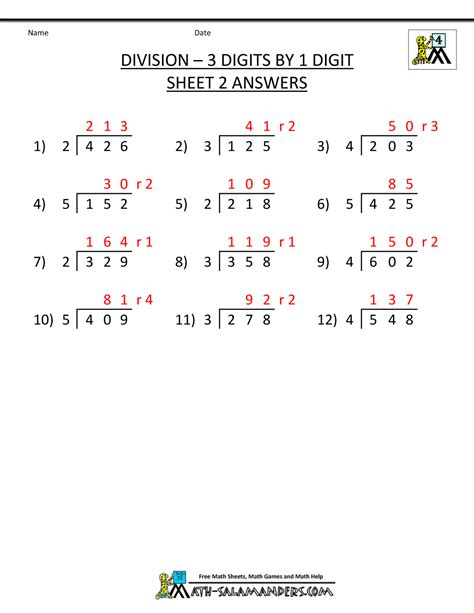 4th Grade Division Worksheets by Free Division Worksheets