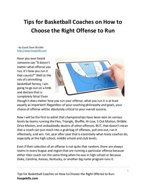 tips for basketball coaches on how to choose the right