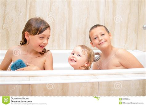 sister brother bathroom children taking bath stock photo image 39715015