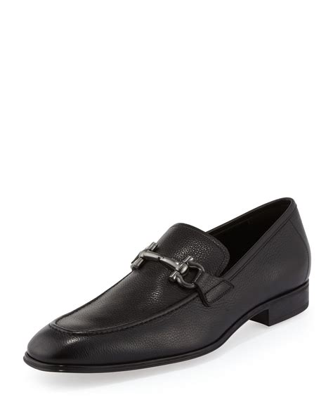 rubber soled loafers ferragamo rigel pebbled rubber sole gancini loafer in