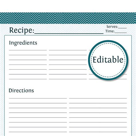 recipe template word recipe card page fillable printable pdf by