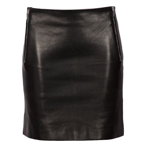leather mini skirt with silver zips