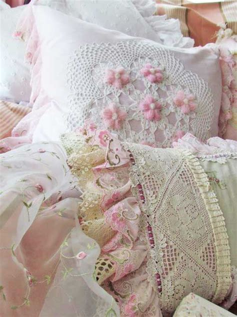 beautiful shabby chic pillows i love the layering of
