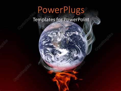 Powerpoint Template 3d Earth Smoking On Fire Over Dark Global Warming Ppt Free