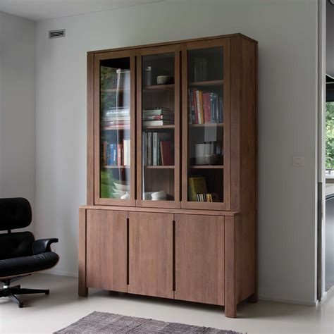 Large Bookcase With Glass Doors Large Bookshelf With Three Glass And Wooden Doors And Lower Idea Of Designs Of Book Shelf
