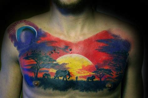 safari tattoo 90 landscape tattoos for scenic design ideas