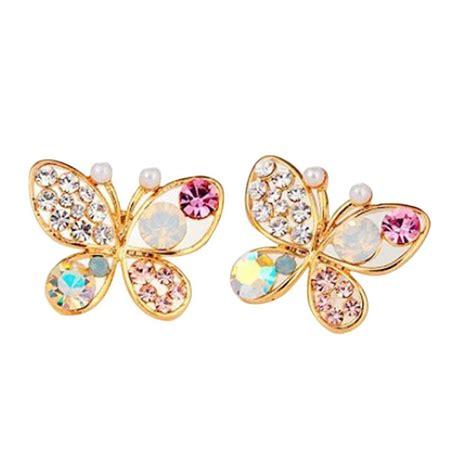 Earring Butterfly multicolor rhinestone butterfly ear stud earrings only 2