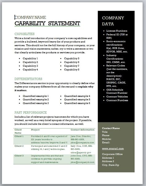 Get Started Quickly Capability Statement Template Word
