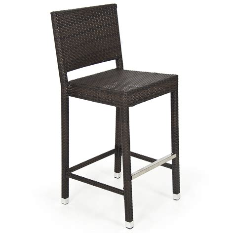 Outdoor Patio Stools Outdoor Wicker Barstool All Weather Brown Patio Furniture